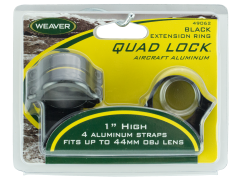 Weaver Mounts Quad Lock, Weav 49062 Rings Quad-lock 1in Ext Blk