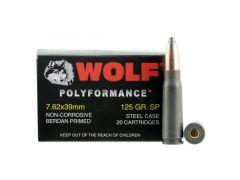 Wolf 762BSP PolyFormance  7.62x39mm 125 gr Soft Point (SP) 20 Bx/ 50 Cs