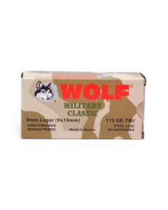 Wolf Military Classic 9mm Luger 115 Gr FMJ (Box)