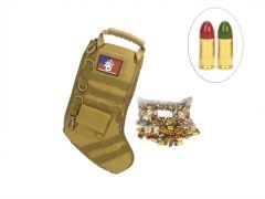 US Cartridge CleanBarrel 9mm 115 Gr Red & Green TPJ - 250 Rounds in Tactical Stocking (Tan)